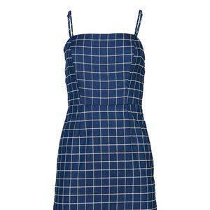 NWOT Blue Windowpane Sleeveless Dress